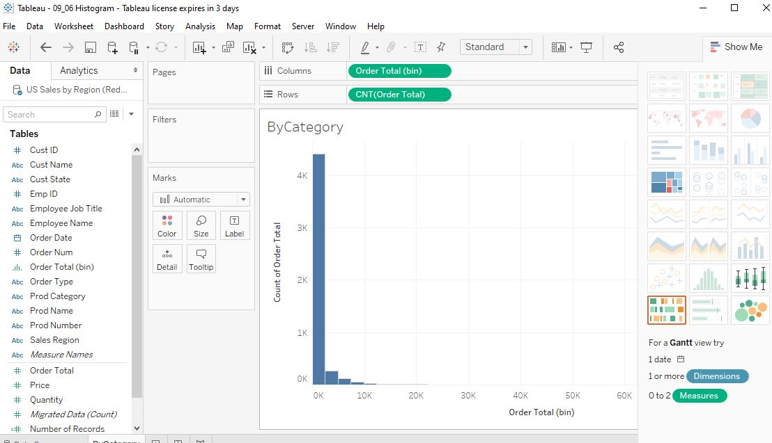Tableau Histograms Step 3
